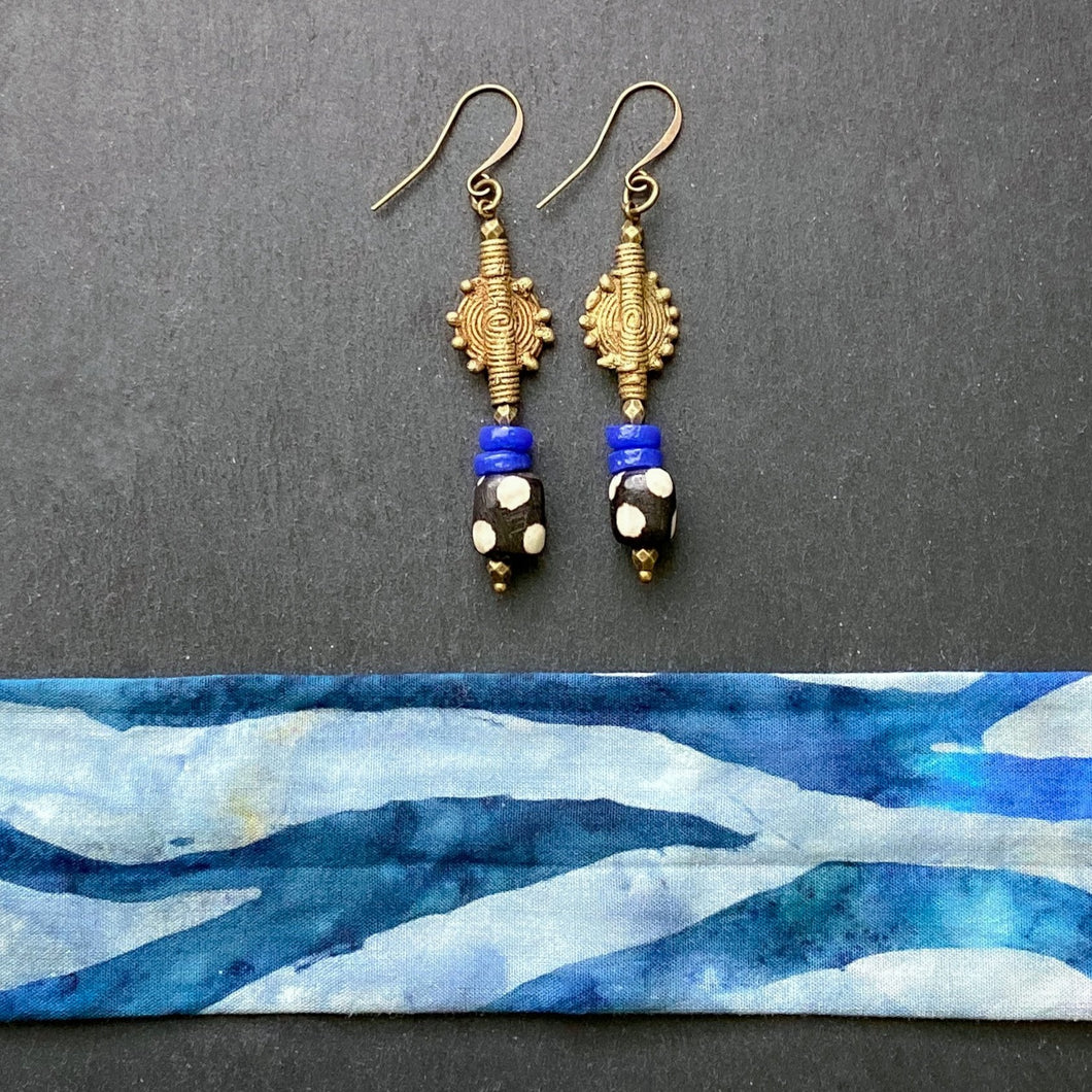Blue and White Shield Drop Earrings
