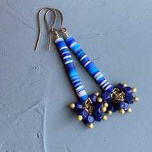 Load image into Gallery viewer, Blue African Vinyl Dangle Earrings