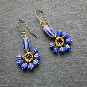 Blue and Grey Antique African Dangle Earrings (Made to Order)
