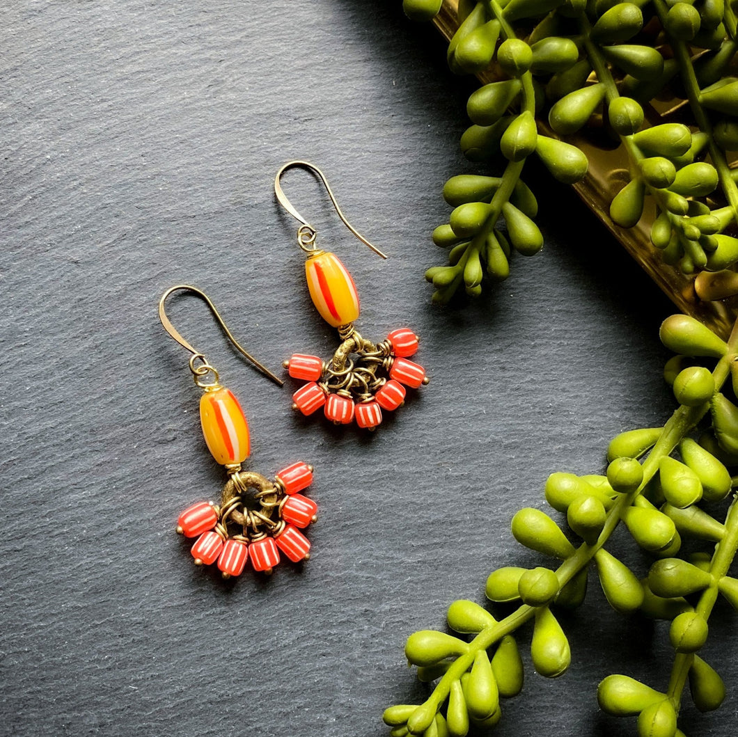 Orange Cluster Antique African Earrings (Made to Order)