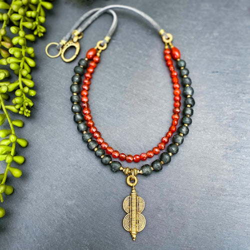 Carnelian and Grey Recycled Glass Double Strand Suede Necklace