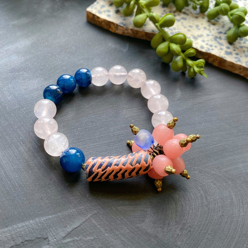 Rose Quartz and Navy Cluster African Beaded Bracelet