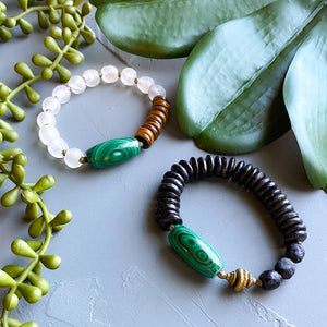 Malachite and Recycled Glass Beaded Bracelet