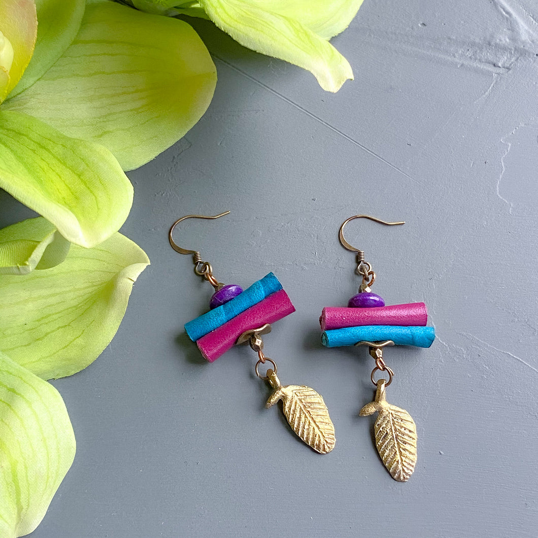 Leather Stack Earrings with Brass Dangles