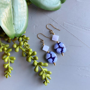 Blue Lace Agate and Kazuri Earrings
