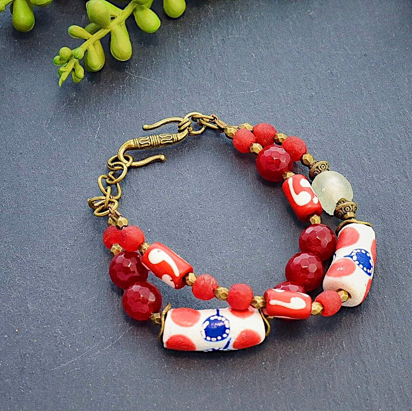 Red and White African Double Strand Bracelet - Afrocentric jewelry
