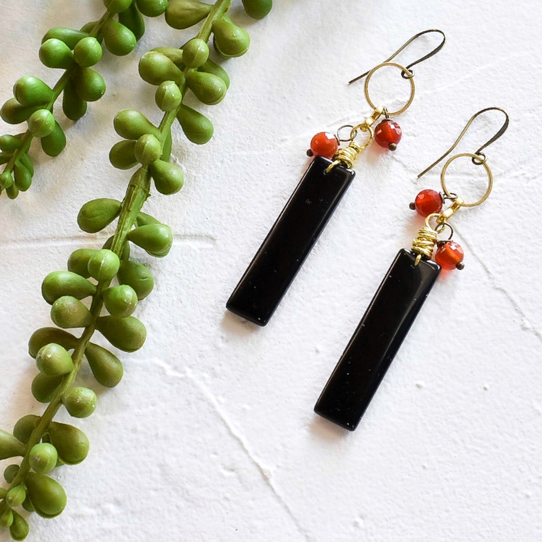 Black Agate and Carnelian Earrings