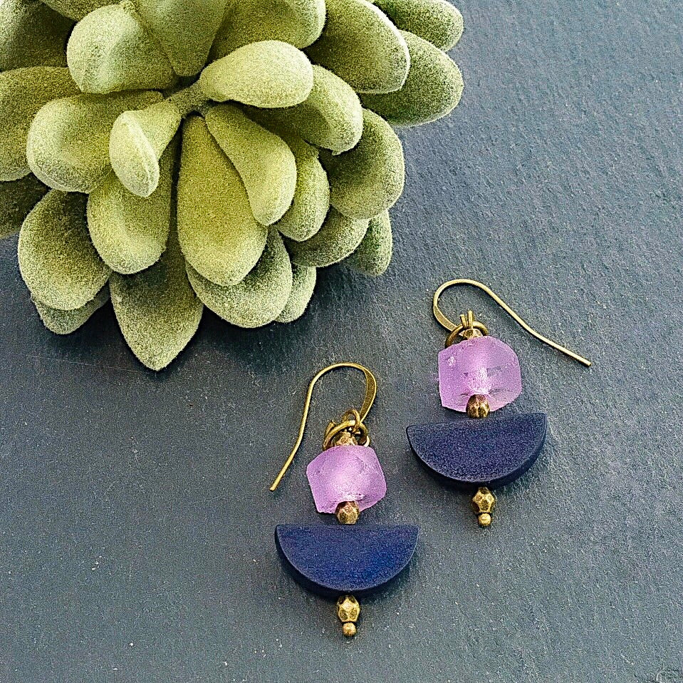 Purple Abstract Earrings - Afrocentric jewelry