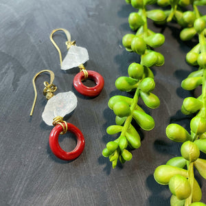Quartz and Red Antique African Beaded Earrings