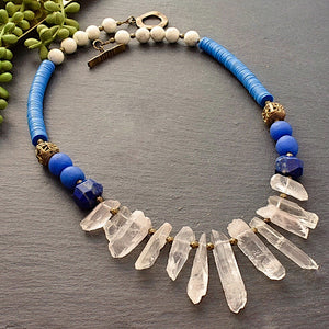 Quartz Forward: Lapis, Blue Vinyl Statement Necklace - Afrocentric jewelry