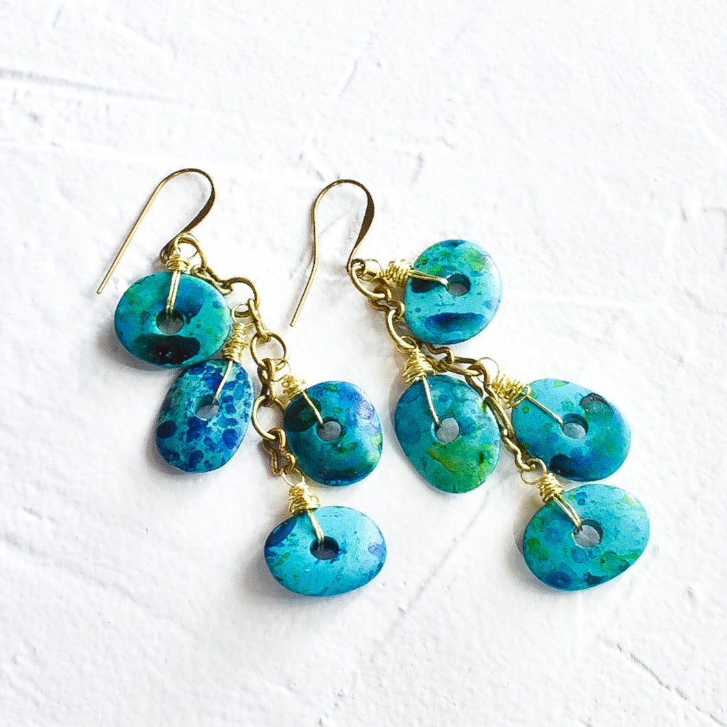 Teal and Sea Green Cascading Earrings (pre-order)