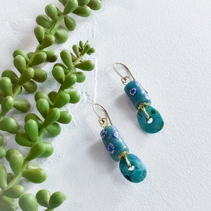 Teal and Sea Green Krobo Petal Earrings