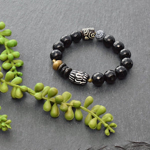 Black Agate and African Bracelet with Recycled Glass - Afrocentric jewelry