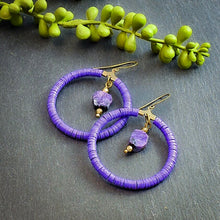 Load image into Gallery viewer, Charoite and Violet Vinyl Hoop Earrings - Afrocentric jewelry