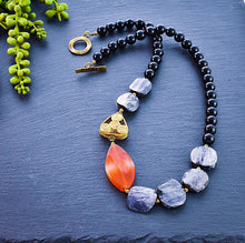 Load image into Gallery viewer, Tangerine Agate and Grey Distressed Bone Necklace - Afrocentric jewelry