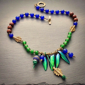 Take Flight #2 : Iridescent Green and Blue African Glass, Brass, and Colored Jade Necklace - Afrocentric jewelry
