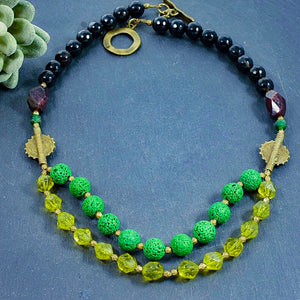 Peridot and Lava Stone Double Diffuser Strand Necklace - Afrocentric jewelry