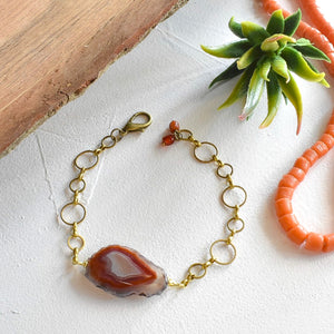 Pumpkin Condor Agate and Brass Bracelet