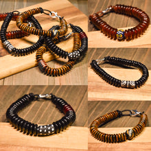 Load image into Gallery viewer, African Trade Bead and Horn Leather Bracelet (Made to Order) - Afrocentric jewelry