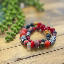 Load image into Gallery viewer, Candy String: Double Wrap Red and Black African Bracelet