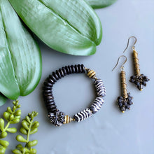 Load image into Gallery viewer, Black Bubbles: Lava Stone and African Brass Drop Earrings