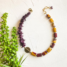 Load image into Gallery viewer, Mookaite Jasper and Burgundy African Beaded Necklace