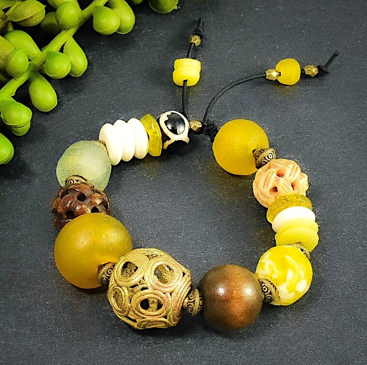 Yellow and Cream African Trade Bead, Prayer Bead Chunky Bracelet - Afrocentric jewelry