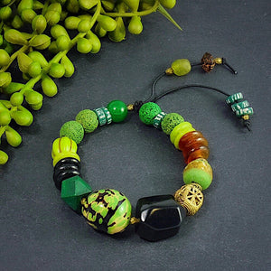 Green and Black African Trade Bead, Bone, and Tagua, Chunky Bracelet - Afrocentric jewelry