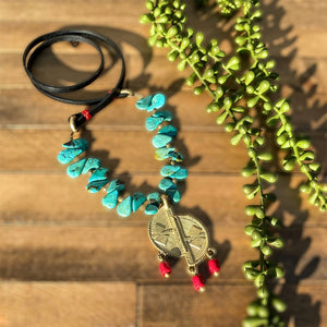 Turquoise, Coral, and Leather Ashanti Brass Necklace