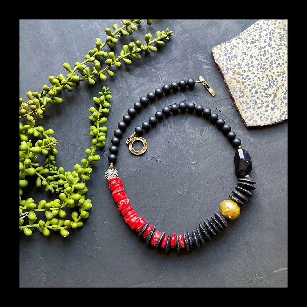 Black and Red Bamboo Coral Statement Necklace (RESERVED)
