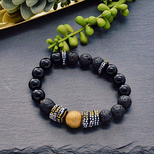 Black Beaded Bracelet with Hand painted African Recycled Glass and Lava Stone - Afrocentric jewelry