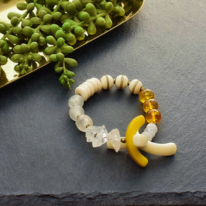 Citrine Bracelet with Tagua and Quartz