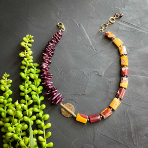 Mookaite Jasper and Burgundy African Beaded Necklace