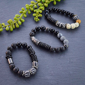 Black and White African Beaded Bracelet with Hematite and Lava Beads - Afrocentric jewelry