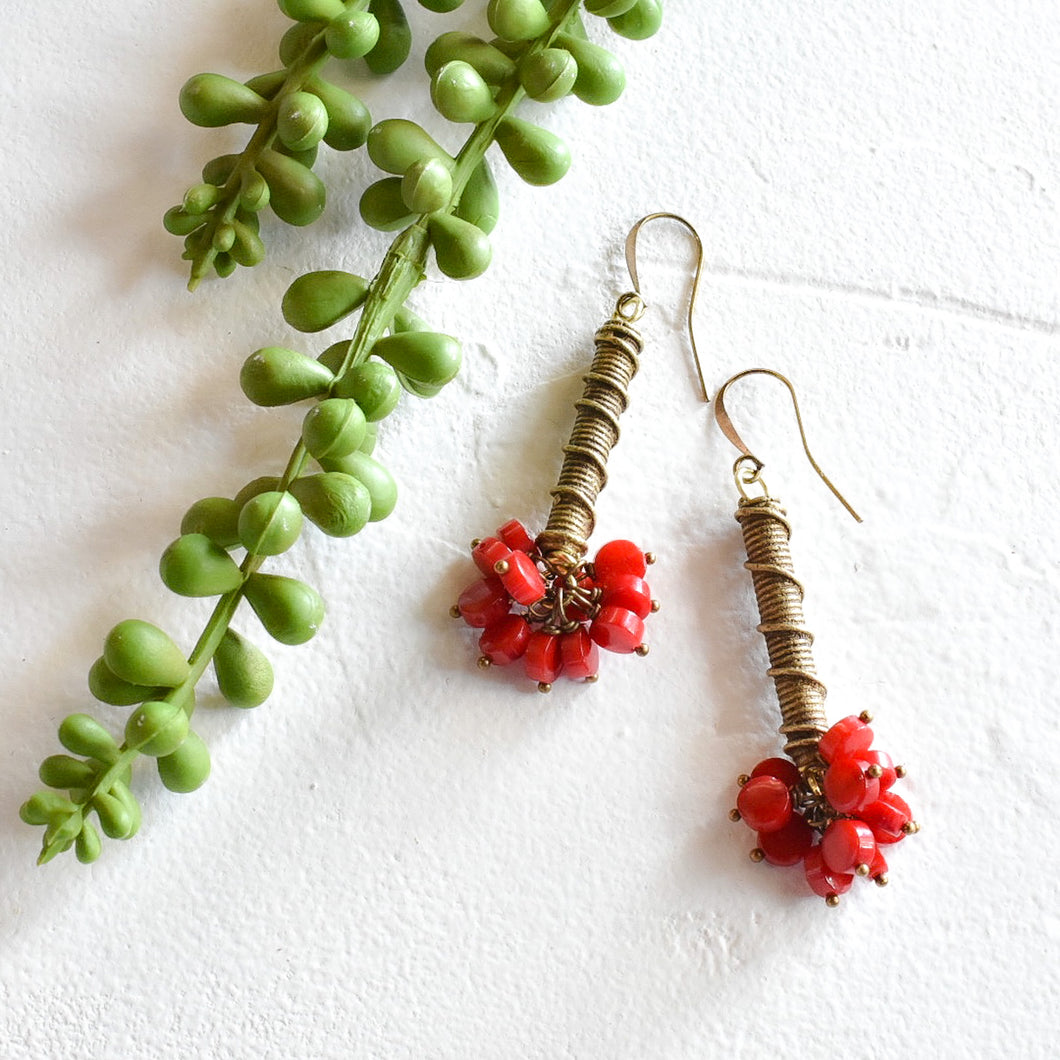 Red Coral and African Brass Drop Earrings