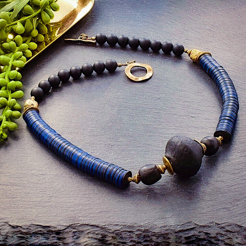Black and Navy Recycled Glass and Vintage African Vinyl Statement Necklace - Afrocentric jewelry
