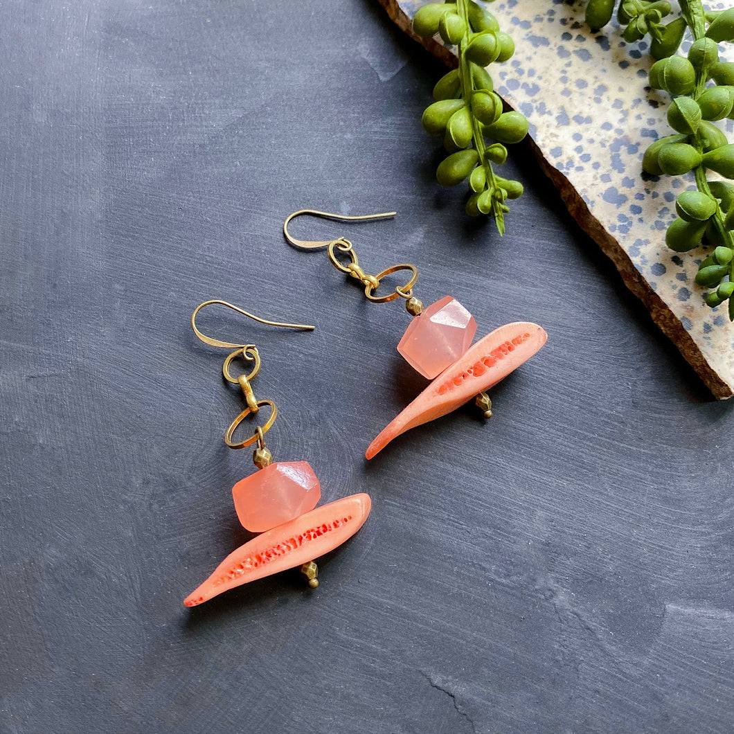 Peach Mini Drop Brass Earrings