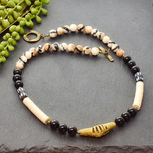 Load image into Gallery viewer, Black and White Ethnic Necklace with Ashanti Brass - Afrocentric jewelry