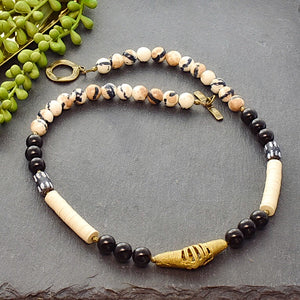 Black and White Ethnic Necklace with Ashanti Brass - Afrocentric jewelry