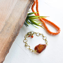Load image into Gallery viewer, Pumpkin Condor Agate and Brass Bracelet