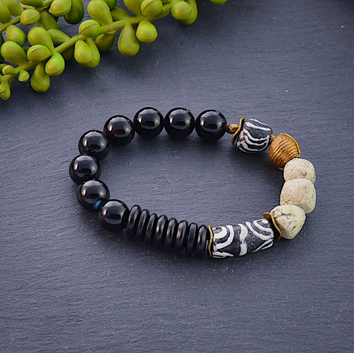 Black and White African Beaded Bracelet with Moroccan Pottery Beads - Afrocentric jewelry