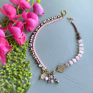 Rose Quartz Helix Statement Necklace