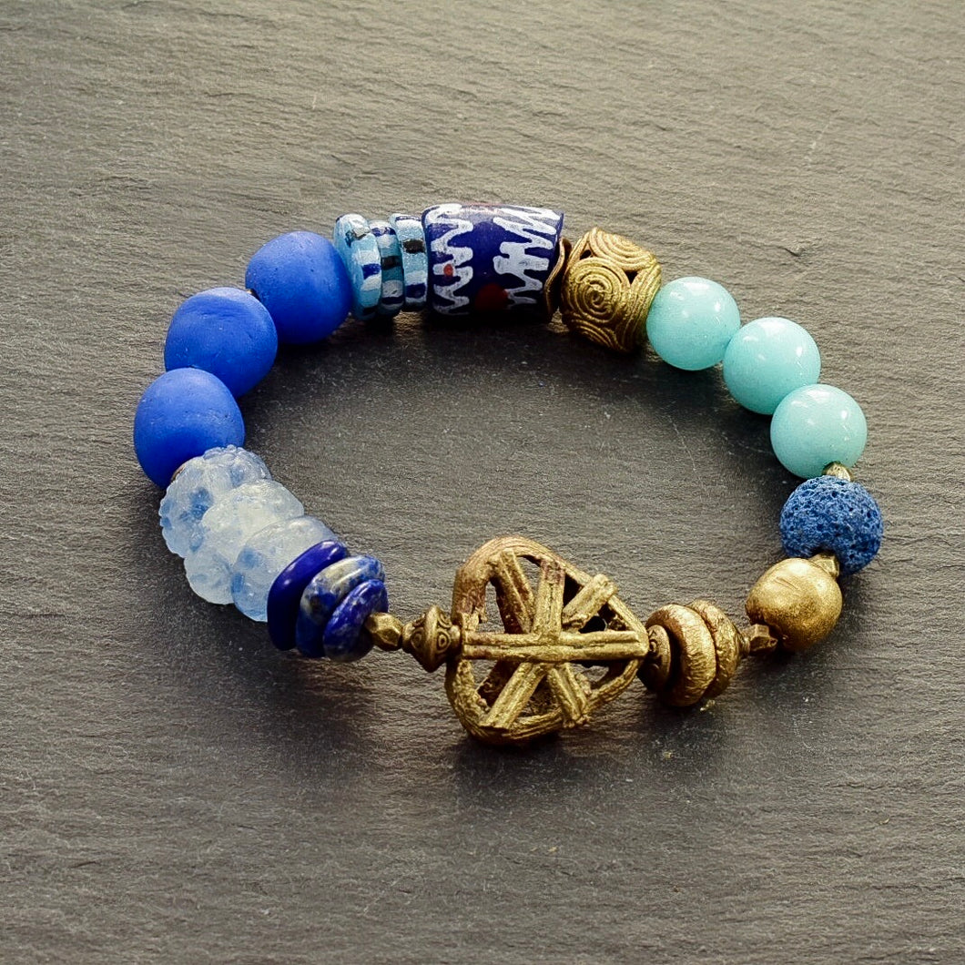 African Blue Pattern Bracelet - Afrocentric jewelry