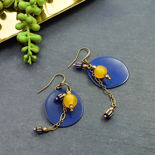 Royal Blue and Yellow Tagua Dangle Earrings