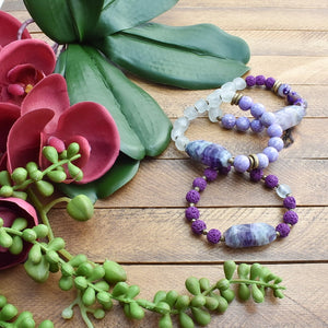 Fluorite and African Glass Bracelet