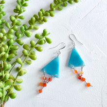 Load image into Gallery viewer, Turquoise Tagua and Carnelian Triangle Earrings