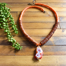 Load image into Gallery viewer, Condor Agate and African Beaded Long Layering Necklace