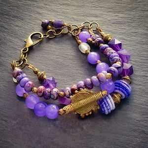 Amethyst and Purple African Beaded Multi-strand Bracelet - Afrocentric jewelry