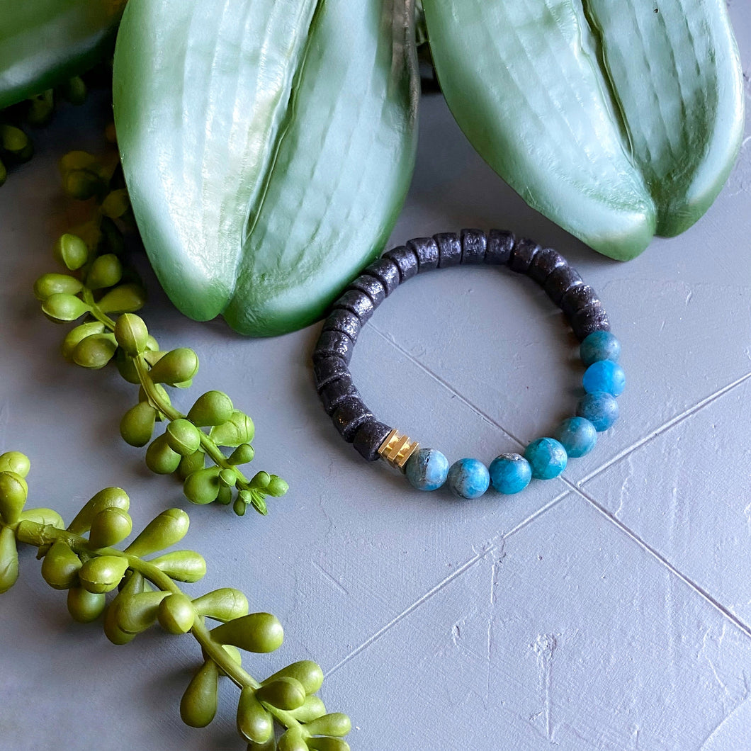 Apatite and African Beaded Bracelet