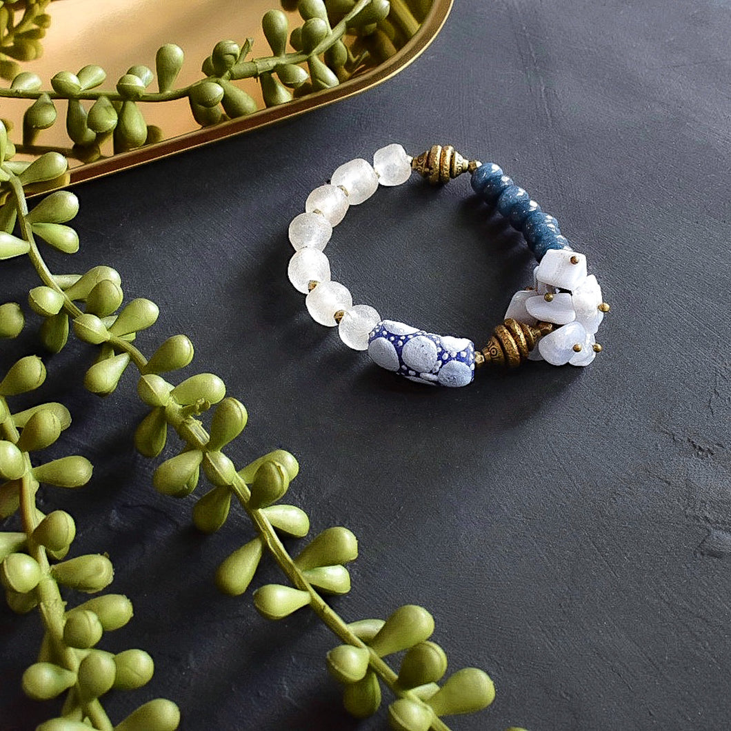 Blue Krobo and Lace Agate Cluster African Bracelet